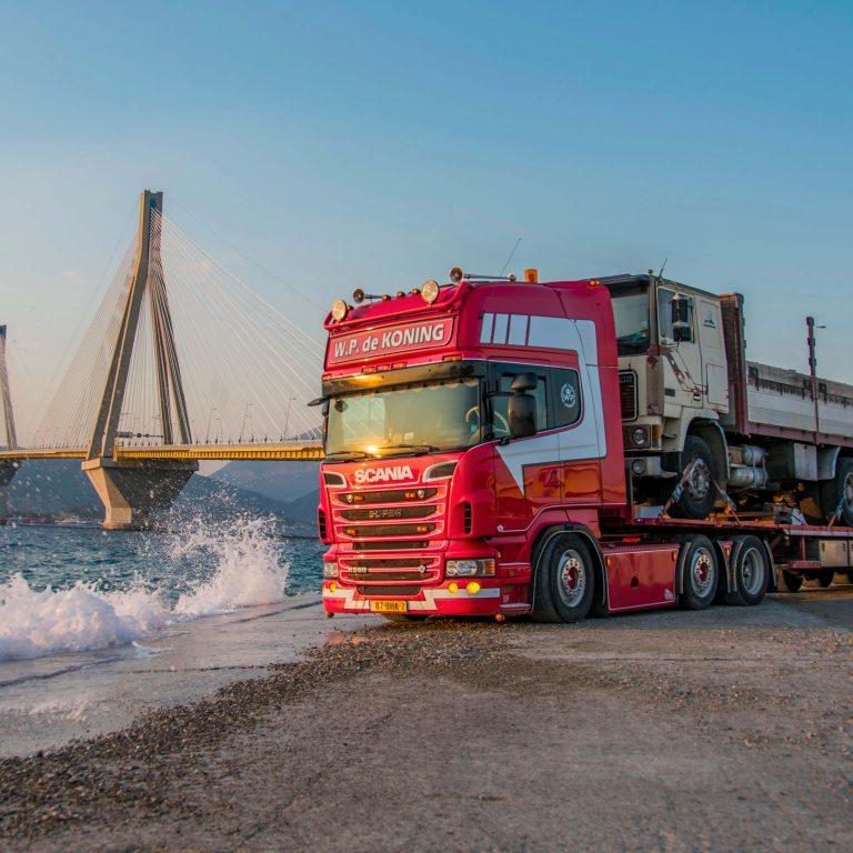 Rio – Antirio bridge Greece with used truck on lowdeck 6x2 truck